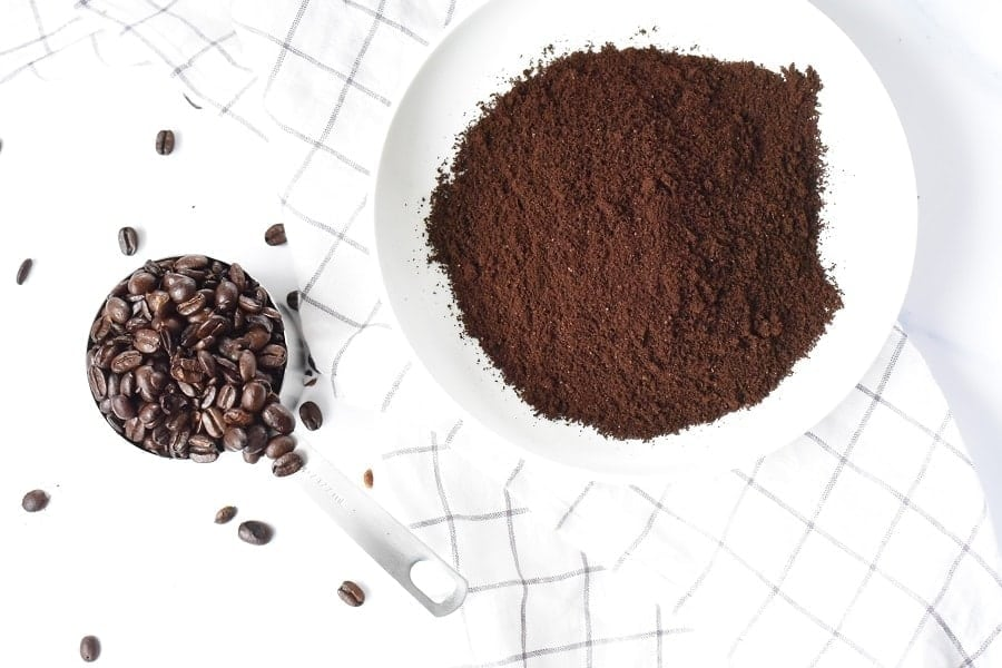 Instant Coffee In Front Of A White Tea Towel