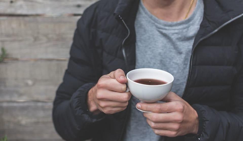Man Drinking Chaga Tea